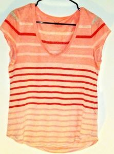Madewell short sleeve Orange with stripes top